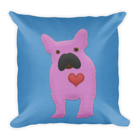 French Bulldog Felt Craft Home Decor Square Pillow for Dog Lovers - Front View