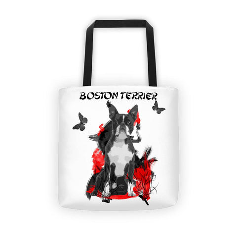 Boston Terrier Chinese Painting - All-Over Tote Bag