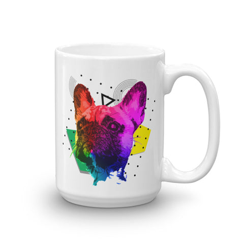French Bulldog Colorful Modern Art 15oz Ceramic Mug Made in USA Handle On Right View