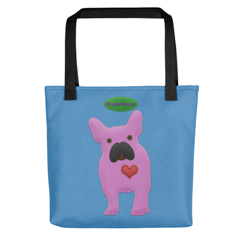 French Bulldog Felt Craft Fashion Blue All-Over Tote Bag for Dog Lovers - Black Handles