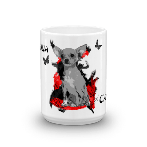 Chihuahua Chinese Painting - 15oz Mug