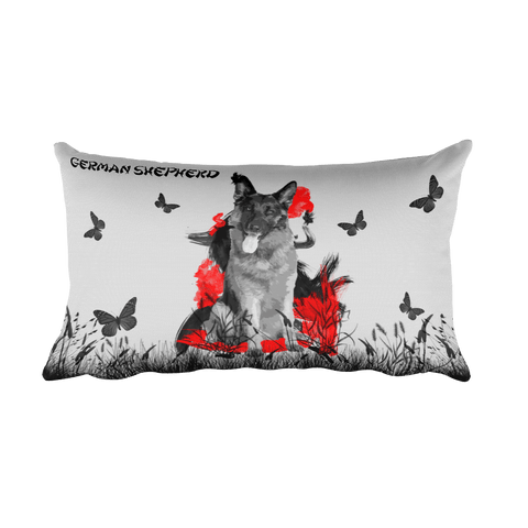 German Shepherd Chinese Painting / Silver - Rectangular Pillow