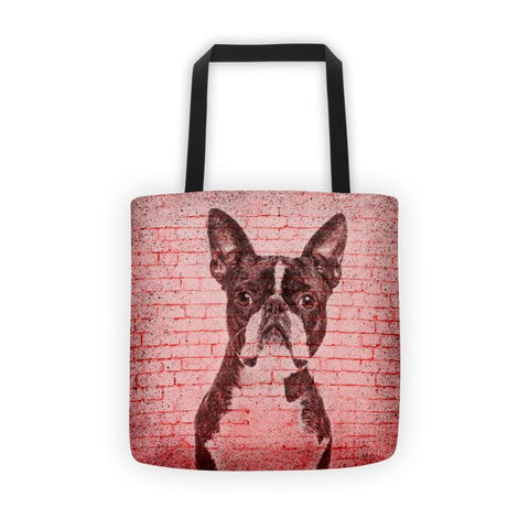 Boston Terrier On Wall All-Over Tote bag