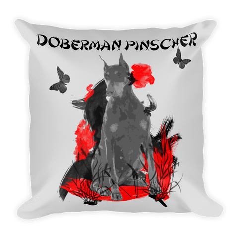 Doberman Pinscher Chinese Painting / Silver - Square Pillow