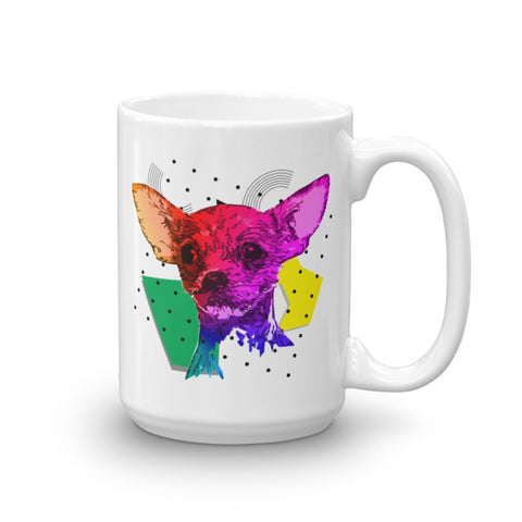 Chihuahua Colorful Modern Art 15 oz Ceramic Mug Made in USA Handle on Right View