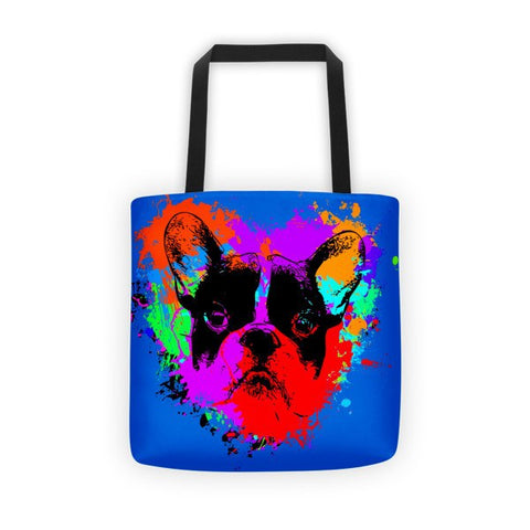 For The Love of Frenchie / Blue - All-Over Tote Bag