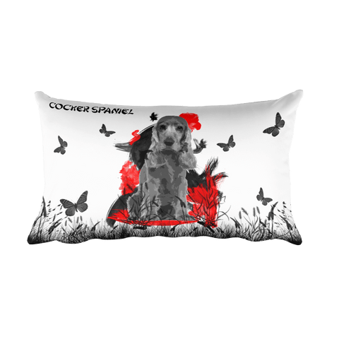 Cocker Spaniel Chinese Painting - Rectangular Pillow