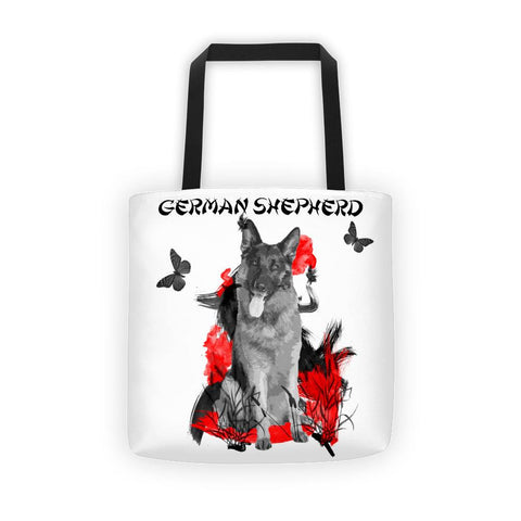 German Shepherd Chinese Painting - All-Over Tote Bag