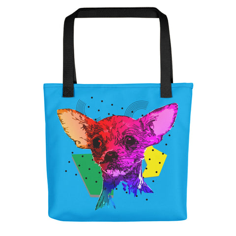 Chihuahua Colorful Modern Art Tote Bag With Black Handles