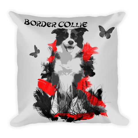 Border Collie Chinese Painting / Silver - Decorative Pillow
