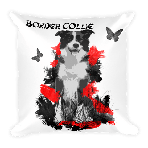 Border Collie Chinese Painting - Decorative Pillow