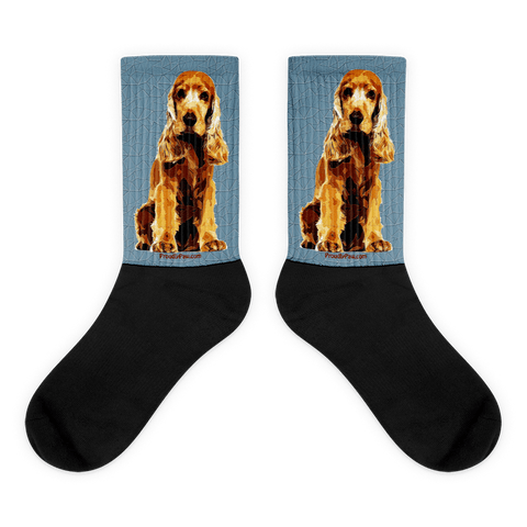 Cocker Spaniel Polygonal Art - Black Foot Socks