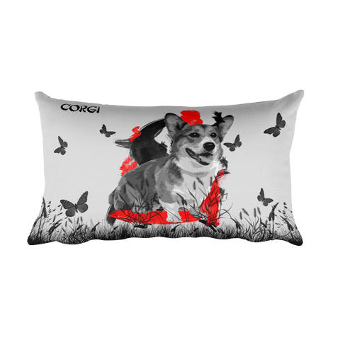 Corgi Chinese Painting / Silver - Rectangular Pillow