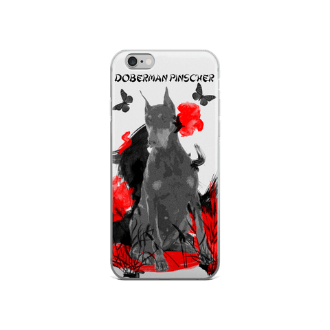 Doberman Pinscher Chinese Painting - iPhone Case