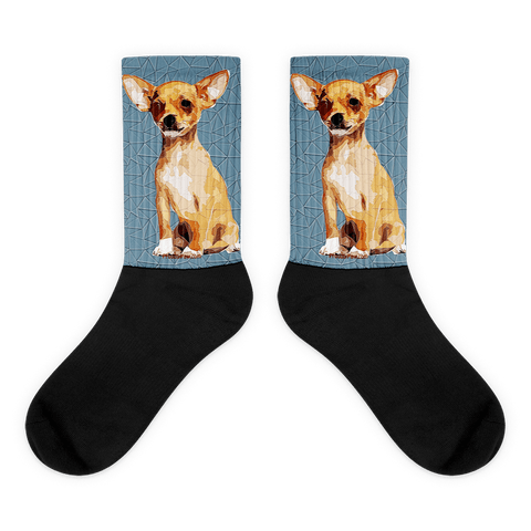 Chihuahua Polygonal Art - Black Foot Socks