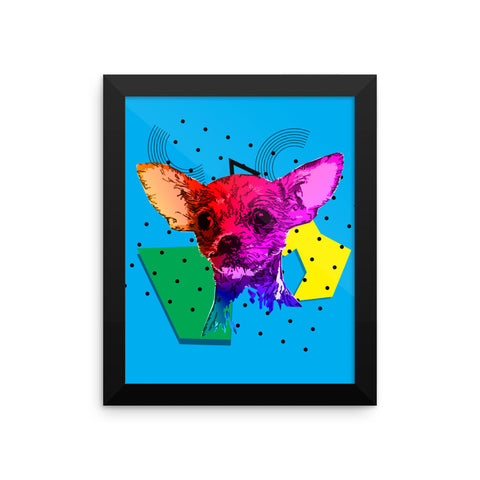Chihuahua Colorful Modern Art Framed Poster 8x10