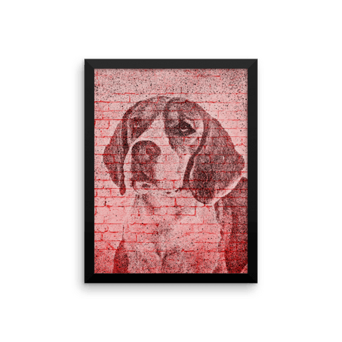 Beagle On Wall Framed Poster