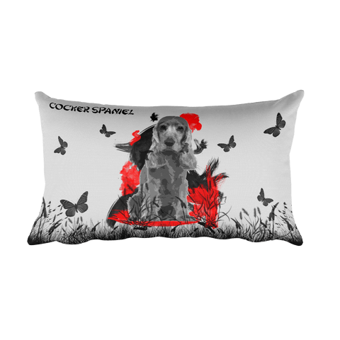 Cocker Spaniel Chinese Painting / Silver - Rectangular Pillow