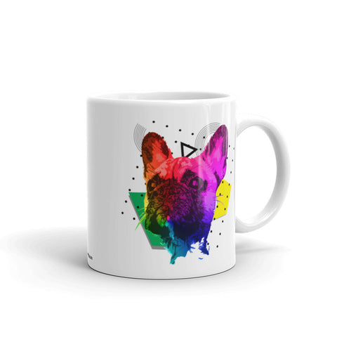French Bulldog Colorful Modern Art 11oz Ceramic Mug Made in USA Handle on Right View