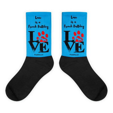 Love Is A French Bulldog Unisex Black Foot Socks Side by Side View