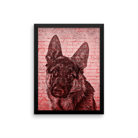 German Shepherd On Wall Framed Poster