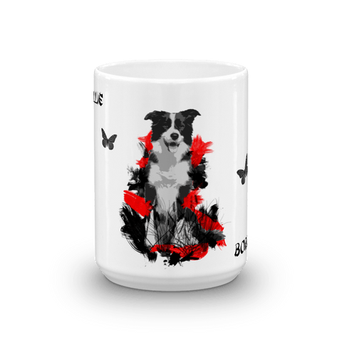 Border Collie Chinese Painting - 15oz Mug