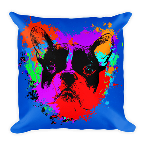 For The Love of Frenchie / Blue - Decorative Pillow