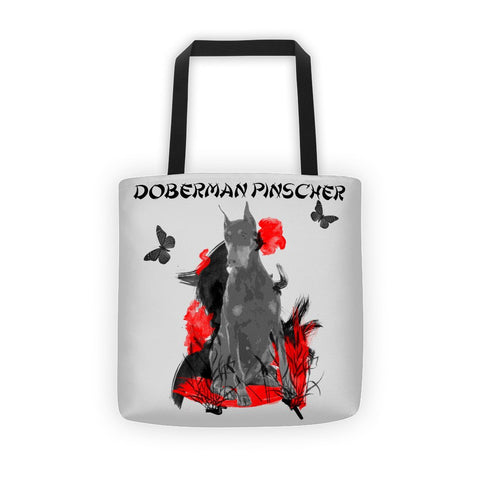 Doberman Pinscher Chinese Painting / Silver - All-Over Tote Bag