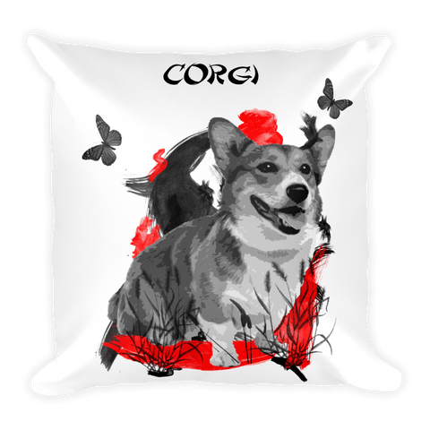 Corgi Chinese Painting - Square Pillow