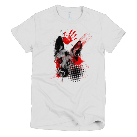 German Shepherd Trash Polka Tattoo Style - Women's T-Shirt