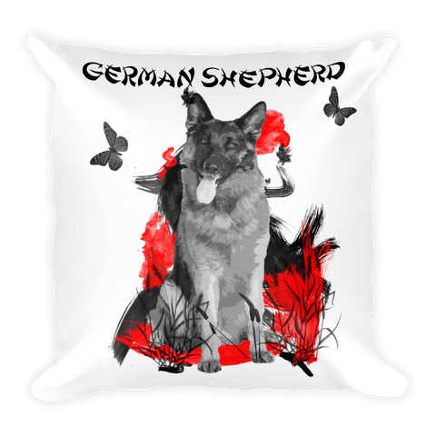German Shepherd Chinese Painting - Decorative Pillow