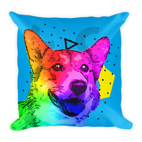 Corgi Modern Art - Home Decor Blue Square Throw Pillow For Dogs Lovers Front View