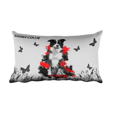 Border Collie Chinese Painting / Silver - Rectangular Pillow