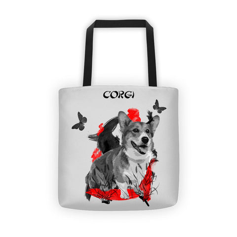 Corgi Chinese Painting / Silver - All-Over Tote Bag
