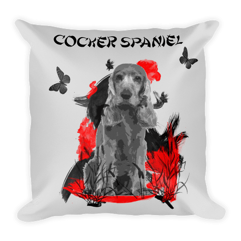 Cocker Spaniel Chinese Painting / Silver - Square Pillow