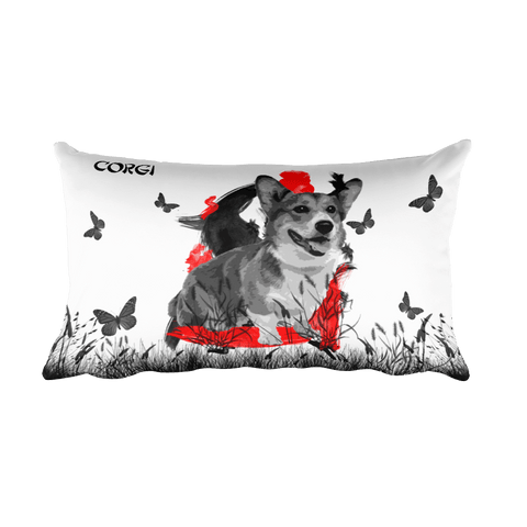 Corgi Chinese Painting - Rectangular Pillow