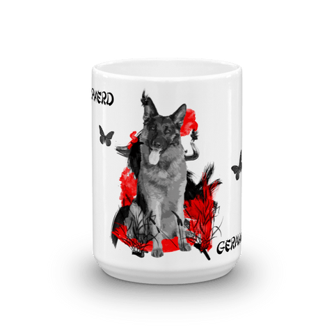 German Shepherd Chinese Painting - 15oz Mug