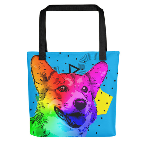 Corgi Colorful Modern Art Blue Fashion Tote Bag for Dogs Lovers - Black Handles