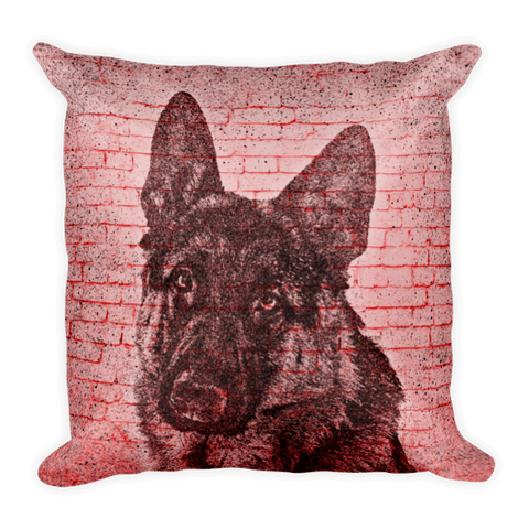 German Shepherd On Wall Decorative Pillow