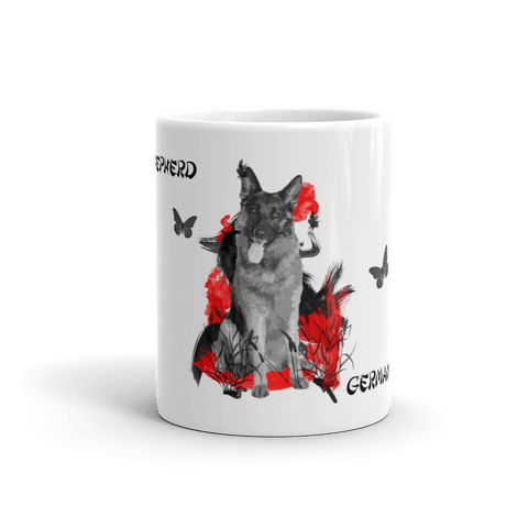 German Shepherd Chinese Painting - 11oz Mug