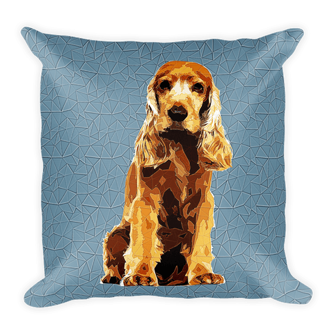 Cocker Spaniel Polygonal Art - Square Pillow