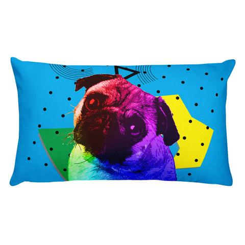 Pug Modern Art - Colorful Home Decor Rectangular Pillow Front View