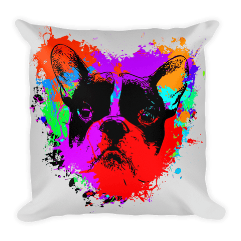 For The Love of Frenchie / Silver - Decorative Pillow