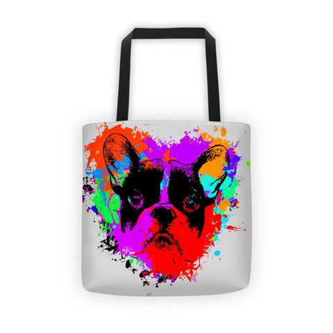 For The Love of Frenchie / Silver - All-Over Tote Bag