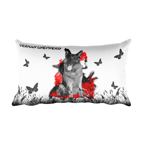 German Shepherd Chinese Painting - Rectangular Pillow
