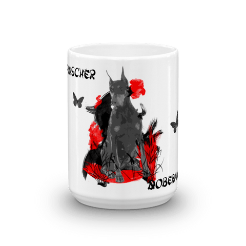 Doberman Pinscher Chinese Painting - 15oz Mug