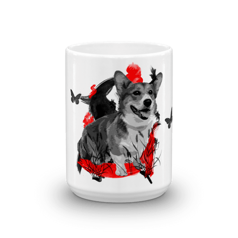 Corgi Chinese Painting - 15oz Mug
