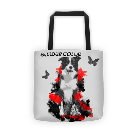 Border Collie Chinese Painting / Silver - All-Over Tote Bag