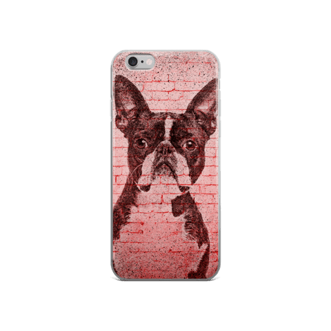 Boston Terrier On Wall iPhone Case