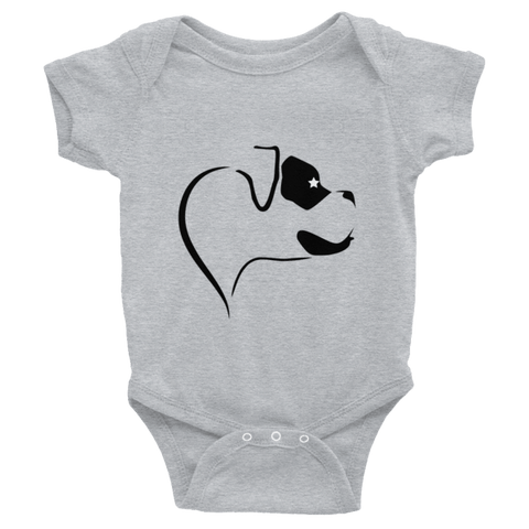 ProudlyPaw Boxer Black Infant Baby Short Sleeve One-Piece